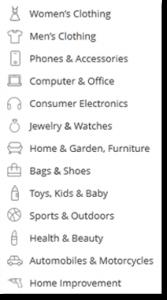 webáruház termék kategóriák